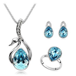 Wholesale Fashion K white gold plated austria crystal women Swan droplets angel pendant necklace earrings rings wedding Jewelry Sets