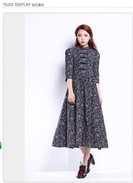Autumn's vintage art floral print linen Pankou collected dress