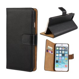 Wholesale For iphone Plus S7 edge S Real Genuine Leather Wallet Credit Card Holder Stand Case Cover For S Samsung Galaxy S6