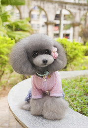 Fuentes del perro muelles en venta-Suministros para mascotas Ropa de perro de peluche patrones floreados en hilo de rosca hembra perro Camisetas cachorro de perro ropa verano de primavera