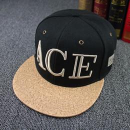 Wholesale brand ACE letter hiphop baseball cap wood shavings brimmed bone snapback casual adjustable casquette for women men