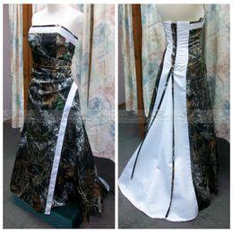 Wholesale White And Camo A Line Wedding Dresses Adjustable Court Train Lace Up Back Formal Long Bridal Gowns Custom Plus Size Vestidos De Novia