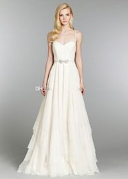 Wholesale 2015 New Simple Design Summer Victorious Wedding Dresses Sexy Spaghetti Beads A Line Floor Length Puffy Chiffon Cheap Beach Bridal Gowns
