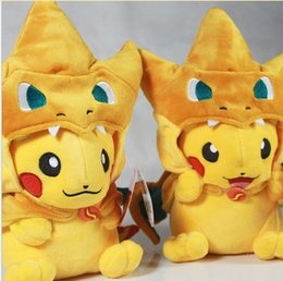 Mega tv en Línea-Nueva poke felpa Mega Pikachu Cosplay X Charizard brinquedo Peluches Cartoon Peluches muñeca 2 colores