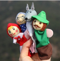 Wholesale little red riding hood finger puppets a set of plush wooden doll mother tell baby story A