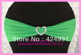 Wholesale 100pcs Green Lycra Chair Bands Sash with Heart Shape buckle Chair Cover Lycra Bands Sash for Weddings Events Decoration