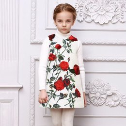 Wholesale 2016 Fall Winter Baby Girl Dress Girls Clothes Rose Floral Children Clothing Dress Princess Sleeveless European Kids Clothing Girl Dress