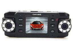 Wholesale Car camera car accident camera HD X8000C Dual Lens Camera Car DVR Cam Vehicle Video Recorder Dash GPS G Sensor