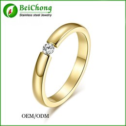 Wholesale BC Jewelry Fashion Imitation Diamond Jewelry Wedding Ring Austria Cubic Zirconia Stainless Steel Ring Three Color BC