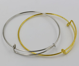 Wholesale Hot NEW Tibet silve Gold plated simple wiring bracelet for beading or charms Alex and Ani style expandable bangles