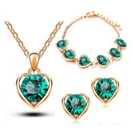 Fashion Heart Necklace Earrings Bracelets Sets Factory Dircet Sales TOP Quality Ziron Heart Jewelry Sets For Women 1331