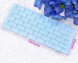 Wholesale New PE Plastic set Tree Bark Brick Wall Shape Fondant Cake Decorating Modelling Tools Pattern Embosser Mold Blue