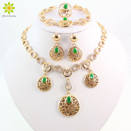 Women African Costume Gold Plated Jewelry Sets Crystal Rhinestone Dubai Bridal Wedding Accessories Earrings Necklace Set