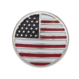 NSB2435 Hot Sale Snap Buttons Jewelry 2 Color 18mm Buttons Fashion DIY Charms American Flag Love Heart Alloy Snap Buttons