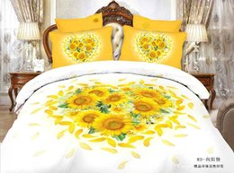 Wholesale Beauty sunflower heart cotton bedding bedclothes queen king size with reversible duvet cover flat sheet pillow shams pc comforter sets