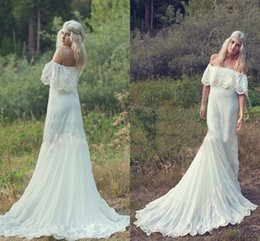 Wholesale Sexy Hippie Dresses - 2015 Bohemian Styles A Line Cheap Wedding Dresses Hippie Bohemian Bridal Dress Cream Ivory Off The Shoulder Lace Ruffle Trim Bridal Gowns