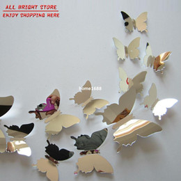 flying butterfly free shipping children's room mirror wall sticker home decoration 12 pcs   lot plastic mirror home decor