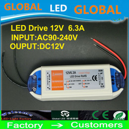 LED strip power supply 12V 6.3A 72W 100V-240V Lighting Transformers high quality safety Driver for LED strip power supply