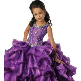Fashion Beaded Rhinestones Purple Girls Pageant Dresses Tiered Long Little Girl Ball Gowns Floor Length Organza Flower Girl Dress