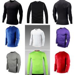 Descuento capas base Hombres de moda masculina de compresión de la capa de base apretada superior de la camisa bajo la piel de manga larga deporte de engranajes
