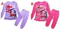 Wholesale 2016 Dog Paw Kids Girls Pyjamas Outfits Puppy Dogs Girls Long Trumpet Sleeve Pajamas Set Kids Cartoon Sleeping Clothing Set Kids Homewear