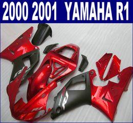 Lowest price fairings bodywork for YAMAHA 2000 2001 YZF R1 matte black red ABS fairing kit YZF1000 00 01 BR14