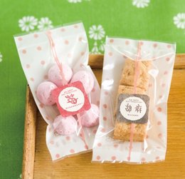Wholesale Cute Round Dots Pink Hot Seal Top Open Cookie Biscuit Plastic Gift Flat Bags for Food Packaging