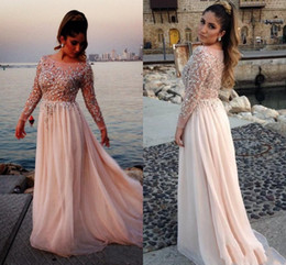 2019 High Quality At a Low Price Long Sleeve Crew Chiffon Crystal Beads Applique Beading Evening Dresses