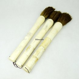 Wholesale Special large Handmade Chinese calligraphy brushes antique vintage bone decor carved craft handle Christmas gift for best friend