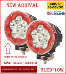"""2PCS 5"""" 60W 6LED*10W CREE LED Driving Work Light Round Offroad SUV ATV 4WD 4x4 Transport Spot Beam 10-60V 6000lm RED Black Shell Frame Combo"""