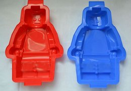 Wholesale Big Lego Robots Silicon Ice Cube Tray Cake Baking Moulds Soap Molds Minifigure Man Brick Silicone Ice Mold Free DHL Fedex