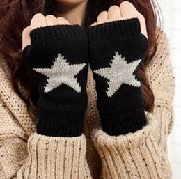 Wholesale-10pairs lot fingerless women gloves knitted working glove star mittens for ladies free shipping