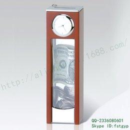 Sirve caja de monedas reloj de mesa de madera con tapa creativa campana del reloj de bordes redondeados mesa metálica de aleación de zinc giratoria Sifangtai desde cajas de madera relojes proveedores