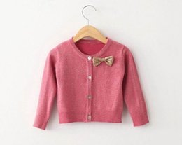 Wholesale 2015 Autumn New Children Clothes Girl Cardigan Sequins Bowknot knitting Cotton Girl Fashion Sweaters Y