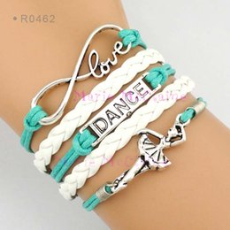 Wholesale Infinity Love Dance Ballerina Ballet Dancer Charm Wrap Bracelets Leather Wax Cords Unisex kid child girls Women Fashion Gift Custom Design