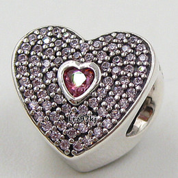 925 Sterling Silver Sweetheart Charm Bead with Pink Cz Fits European Pandora Jewelry Bracelets Necklaces & Pendants
