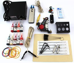 lastest Beginner tattoo guns kits complete one tattoo machine gun mini black power supply 14color inks grip needles pedal