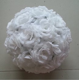Elegant White Artificial Roses Silk Flower Ball Hanging Kissing Balls 15 cm to 60CM Ball For Wedding Party Decoration Supplies