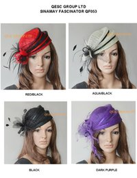 Wholesale New design fashion elegant Sinamay hat fascinator for party church colors red black purple aqua black black