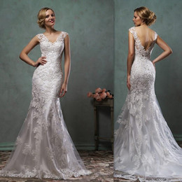Wholesale Amelia Sposa Wedding Gowns Best Western Open Back Cap Sleeves Lace Bridal Dresses Mermaid Trumpet Couture Dress For Brides