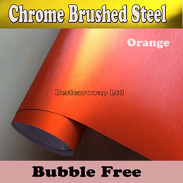 Wholesale Chrome brushed vinyl Orange Aluminium Vinyl Car Wrapping Vinyl Air Release Film Boat Vehicle Wraps covers Film Size x20m Roll