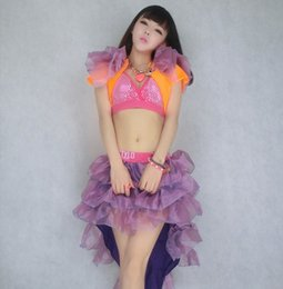 Wholesale ds costumes female Xia Xuesheng modern dance tutu skirt sexy nightclub stage skirt suit adult swallowtail