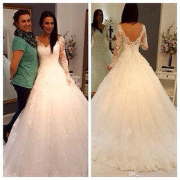 2015 Vestidos De Noiva Winter Lace Wedding Dresses with Long Sleeves A Line Empire Waist Sheer V Neck Backless Plus Size Bridal Gowns new