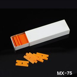 Wholesale 1 cm Plastic Razor Blades Orange for glue removing window film wrapping pack box MX whole sale