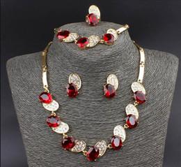 New Trendy Bee Shape 18K Gold Plated Austrian Crystal Necklace Bracelet Ring Earrings Jewelry Set For Women Wedding Set