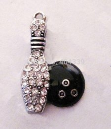 Wholesale a antique silver plated fashion Bowling Pin and Ball Crystal Pendant jewelry