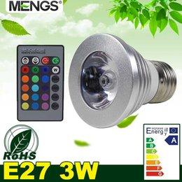 MENGS E27 3W LED RGB 16 luz cambiante del color bulbo de la lámpara con control remoto IR - multicolor Dimmable desde focos de colores proveedores