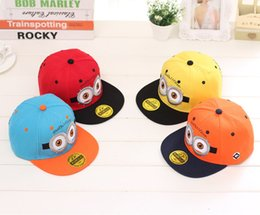 Wholesale 4 color Despicable Me Minions Kids Snap back Hat Caps Children s Boys Cartoon Baseball Cap Casual Hiphop Hats new Despicable Me Hat Cap