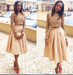 Champagne Lace Two Pieces Prom Dresses with Long Sleeves High Neck Crop Top Vintage Tea Length Short Party Homecoming Dress 2015 Vestidos