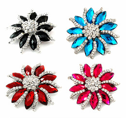 "2.2"" Silver Tone Rhinestone Crystal Diamante and Red Marquise Stone Flower Brooch Party Prom Pins"